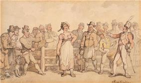 Woman standing before a crowd of men.
