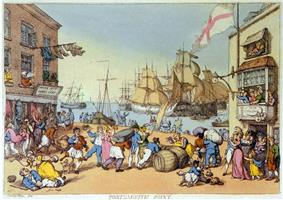painting of a busy dockside scene showing sailors carousing with women, and tradesmen transporting their wares