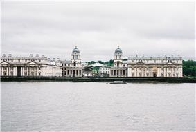Old Royal Naval College and University of Greenwich buildings on the bank of the River Thames