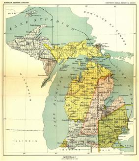 In the 1836 Treaty of Washington, Michigan tribes ceded claims to lands in the yellow (Royce No. 205) area above -- covering eastern Upper Peninsula and the northwestern Lower Peninsula of Michigan to the United States-- and opened it to settlement.