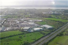 View over Shannon, with the industrial area on the left and the housing on the right.