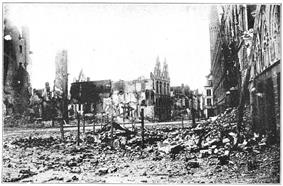 Rubble, with parts of some buildings still standing