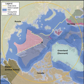 Map showing Russian claims in the Arctic.