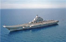 An overhead view of Admiral Kuznetsov.
