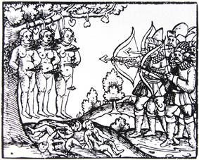 Printed woodcarving showing archers using hanged naked women as target practice. Beneath them lie the bodies of children, cut open.