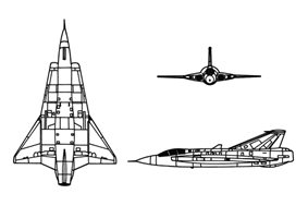 Orthographically projected diagram of the Saab J 35 Draken