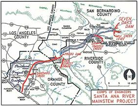 A map showing the Santa Ana River, a few of its tributaries, county boundaries, and a floodplain boundary