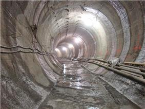A newly built, round subway tunnel without any infrastructure or track, being built as part of the Second Avenue Subway