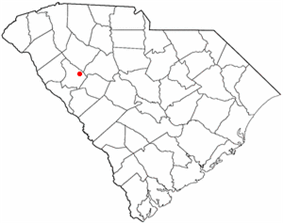 Location of Ninety Six, South Carolina