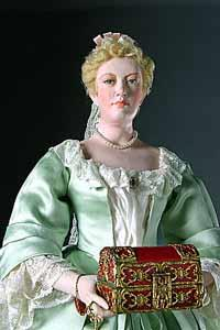 Mixed media image of a blonde woman in 17th century dress