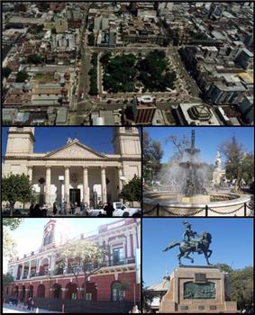 (From top to bottom; from left to right) Aerial view of the city; Santiago del Estero Cathedral; Plaza Libertad; Santiago del Estero Cultural Complex and Monument to Belgrano