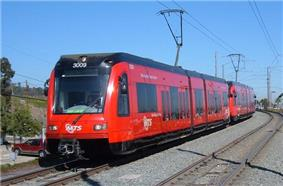 A San Diego Trolley train approaching El Cajon Transit Center