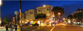 Cole Street, left, and Haight Street, right
