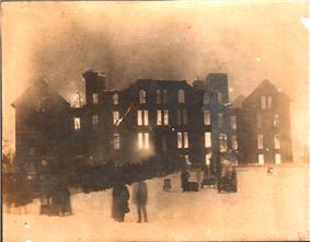 Picture of the 1929 fire in the original building.