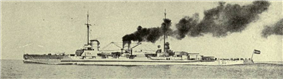 A large ship steams at full speed: the ship plows into the sea while dark gray smoke pours from its smoke stacks.