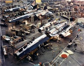 Blackbird on the assembly line at Lockheed Skunk Works