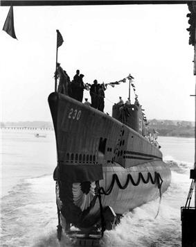 USS Finback (SS-230) on the day of her launch