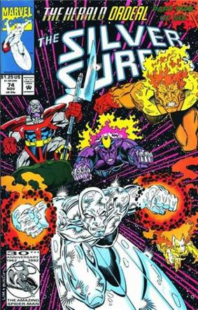 Comic-book cover, with Silver Surfer being chased by other characters