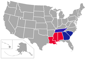 Southern States Athletic Conference locations