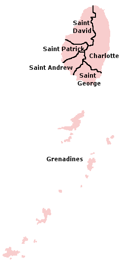 Map of the Parishes of Saint Vincent and the Grenadines