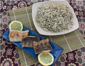 Fried fish with Sabzi polo