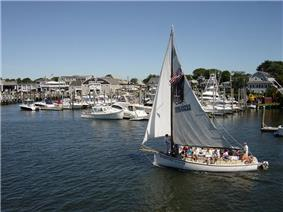 A sailboat in Hyannis Harbor