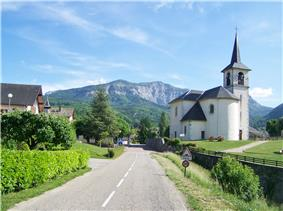 The church and road into Saint-Cassin