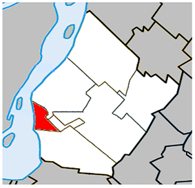 Location within the Urban Agglomeration of Longueuil