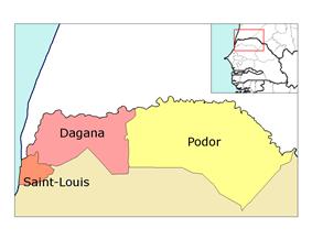 Saint-Louis région, divided into 3 départements