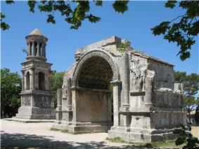 Roman site 'Les Antiques' of Glanum, with the Mausoleum (left) and the Arch (right)