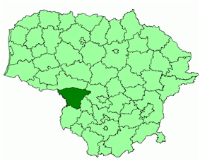 Location of Šakiai district municipality within Lithuania