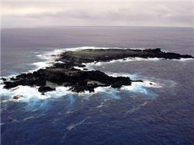 Aerial view of Salas y Gómez, looking east