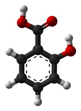 Ball-and-stick model of salicylic acid