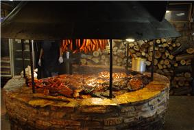 the barbecue pit at the salt lick barbecue restaurant in driftwood, Texas.
