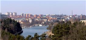 Panorama view of Södertälje from the new Saltsjöbron