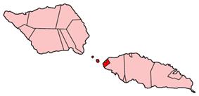Map of Samoa showing Aiga-i-le-Tai district