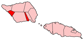 Map of Samoa showing Satupa'itea district