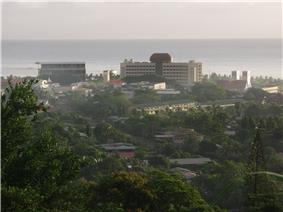 View of the Samoan government buildings in Apia