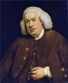 Half-length portrait of a large, squinting man with a fleshy face, dressed in brown and wearing an 18th-century wig