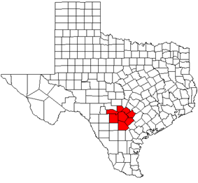 Map showing the location of the San Antonio-New Braunfels MSA