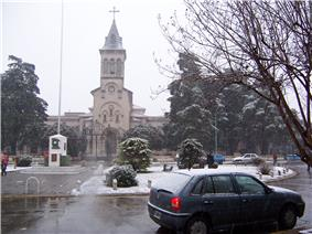 The Church of San Antonio de Padua during the July 9, 2007 snowstorm, the first in the Buenos Aires area since 1918.