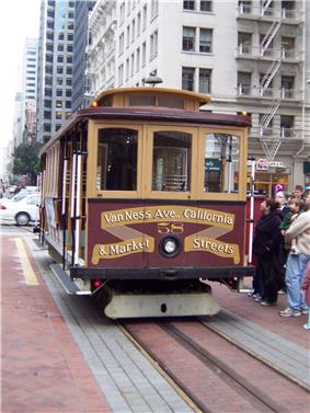 A cable car with the words