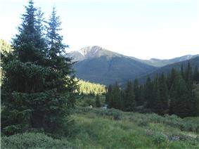 A valley in the mountains of San Isabel National Forest.