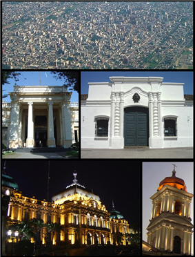 (From top to bottom; from left to right) Aerial view of the city; Nacional University of Tucumán; Independence House; Tucumán Government House and the Tucumán Cathedral.