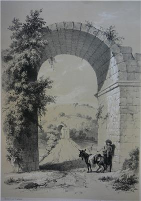 View of the remains of the triumphal arch on the western end of the bridge (1838)