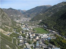 Santa Coloma and the Gran Valira river (right) as seen from a nearby mountain