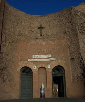 The basilica of Santa Maria degli Angeli e dei Martiri, built in the remains of the baths.