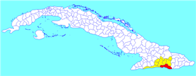 Santiago municipality (red) within  Santiago Province (yellow) and Cuba