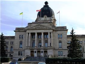 The front entrance and dome of the Saskatchewan Legislative Building