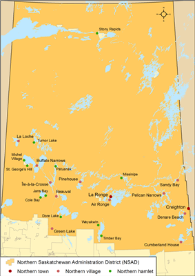 Map of northern municipalities by type in Saskatchewan as of 2013